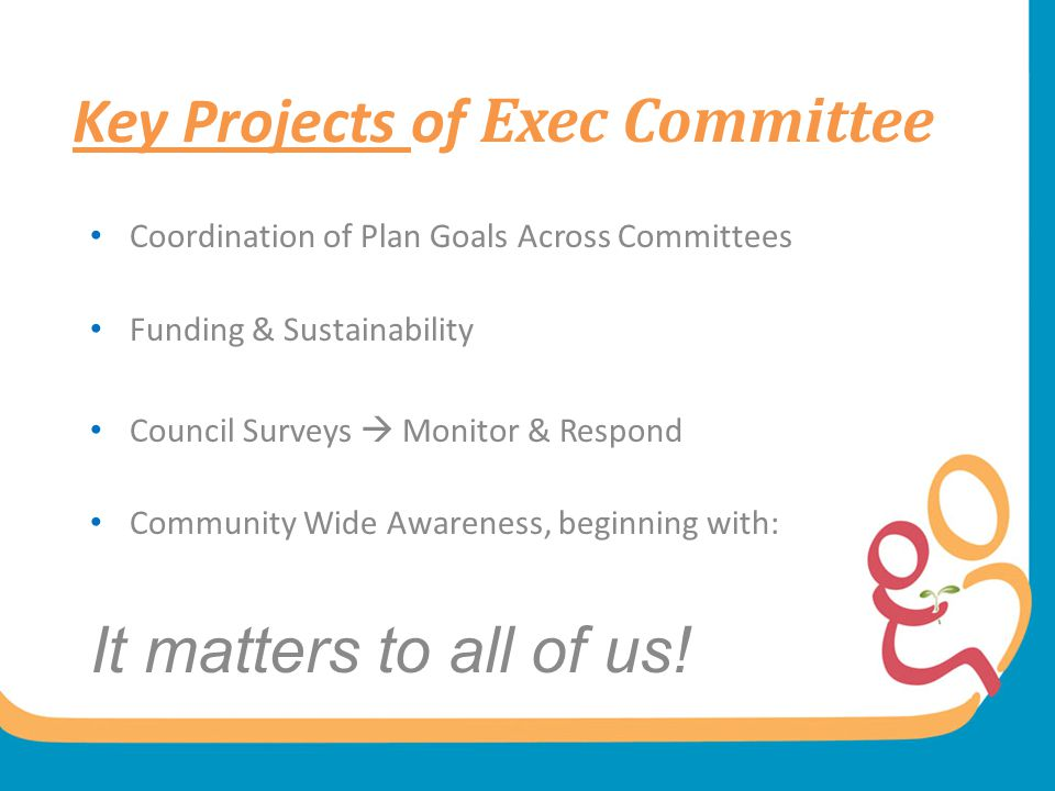 Key Projects of Exec Committee Coordination of Plan Goals Across Committees Funding & Sustainability Council Surveys  Monitor & Respond Community Wid