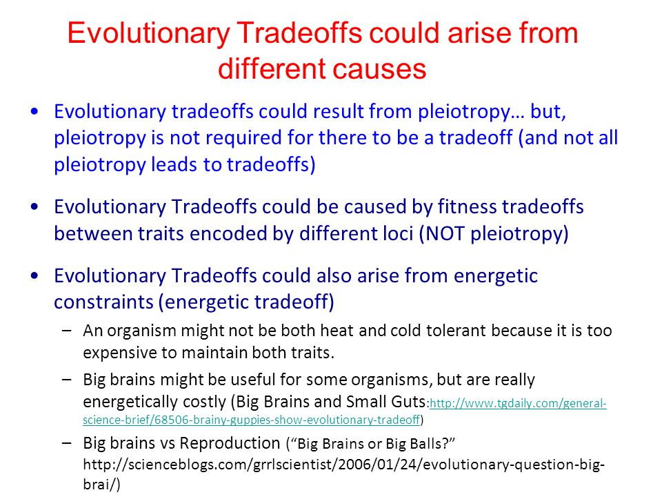 Evolutionary Tradeoffs could arise from different causes Evolutionary tradeoffs could result from pleiotropy… but, pleiotropy is not required for ther