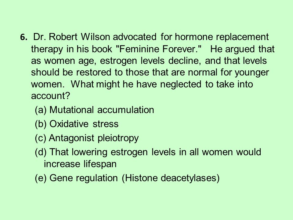 6. Dr. Robert Wilson advocated for hormone replacement therapy in his book