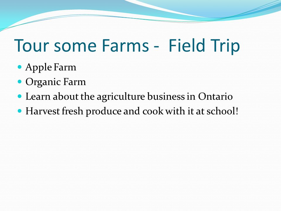 Tour some Farms - Field Trip Apple Farm Organic Farm Learn about the agriculture business in Ontario Harvest fresh produce and cook with it at school!