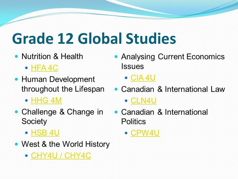 Grade 12 Global Studies Nutrition & Health HFA 4C Human Development throughout the Lifespan HHG 4M Challenge & Change in Society HSB 4U West & the Wor