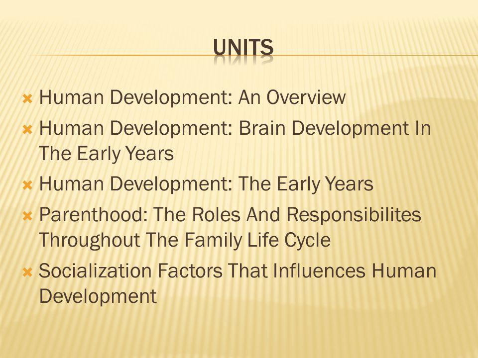  Human Development: An Overview  Human Development: Brain Development In The Early Years  Human Development: The Early Years  Parenthood: The Role