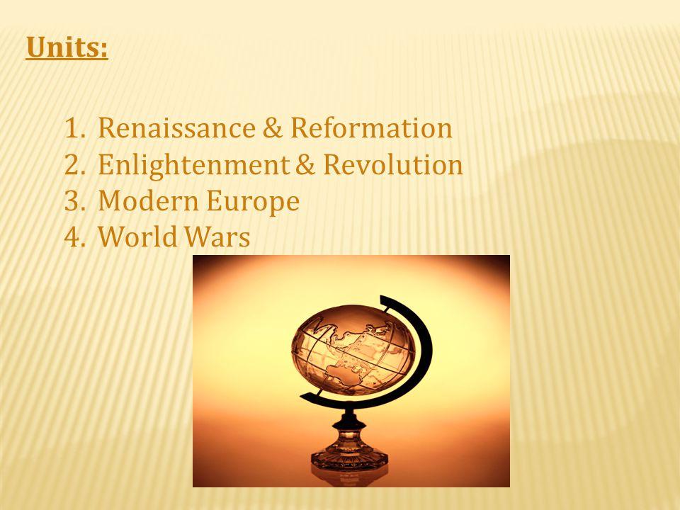 Units: 1.Renaissance & Reformation 2.Enlightenment & Revolution 3.Modern Europe 4.World Wars