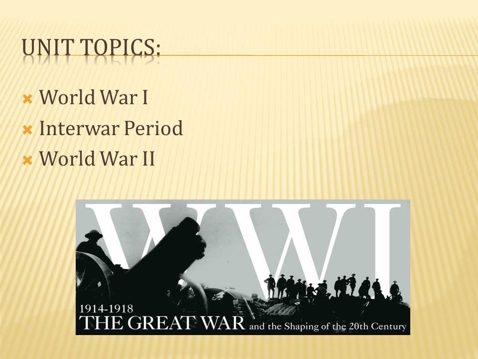  World War I  Interwar Period  World War II