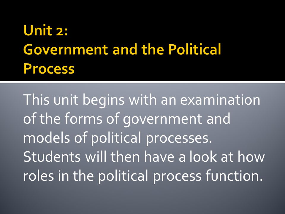 This unit begins with an examination of the forms of government and models of political processes. Students will then have a look at how roles in the