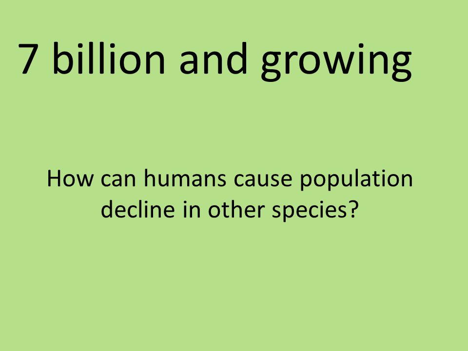 How can humans cause population decline in other species? 7 billion and growing