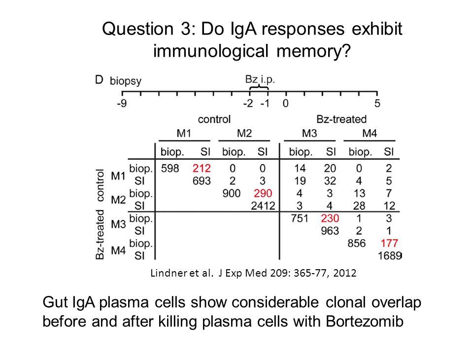 Question 3: Do IgA responses exhibit immunological memory? Lindner et al. J Exp Med 209: 365-77, 2012 Gut IgA plasma cells show considerable clonal ov