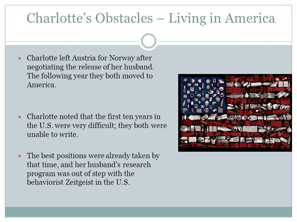 Charlotte's Obstacles – Living in America Charlotte left Austria for Norway after negotiating the release of her husband.
