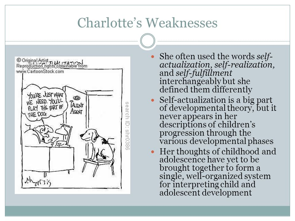 Charlotte's Weaknesses She often used the words self- actualization, self-realization, and self-fulfillment interchangeably but she defined them diffe