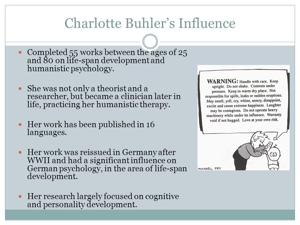 Charlotte Buhler's Influence Completed 55 works between the ages of 25 and 80 on life-span development and humanistic psychology.