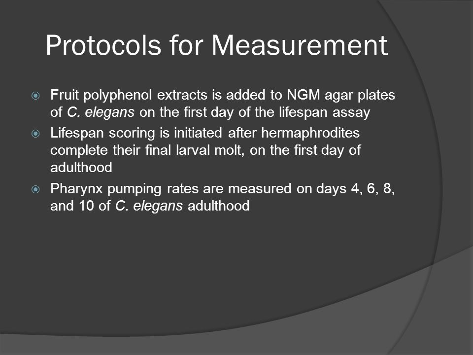 Protocols for Measurement  Fruit polyphenol extracts is added to NGM agar plates of C.
