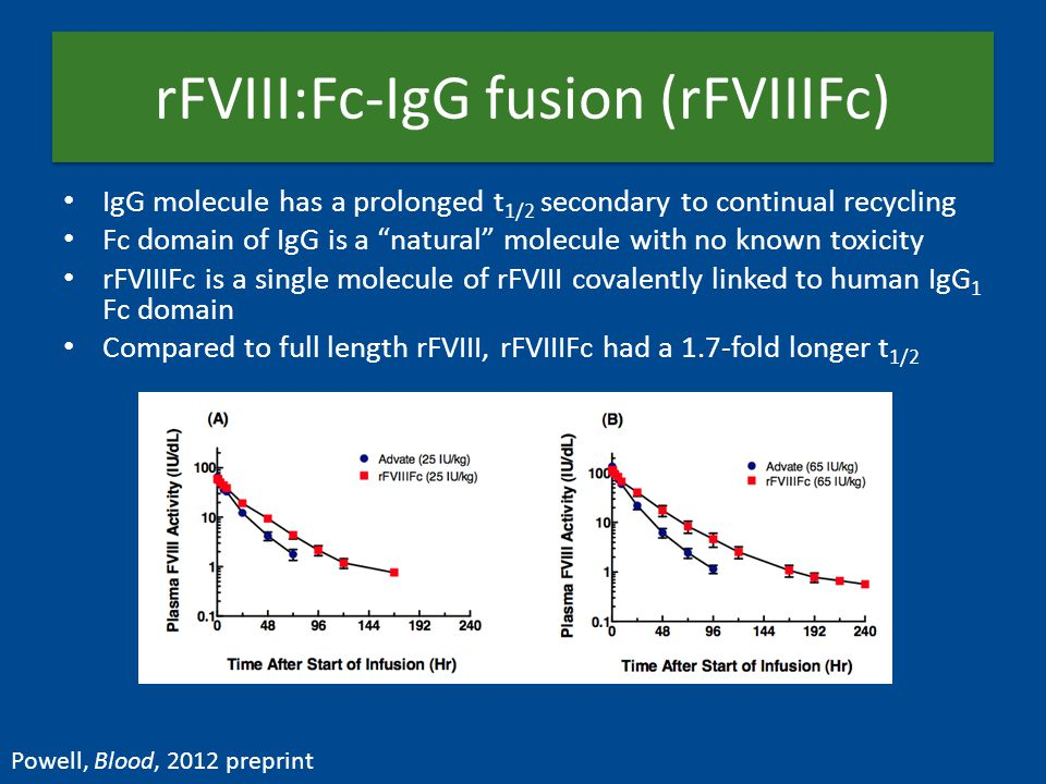 rFVIII:Fc-IgG fusion (rFVIIIFc) IgG molecule has a prolonged t 1/2 secondary to continual recycling Fc domain of IgG is a natural molecule with no known toxicity rFVIIIFc is a single molecule of rFVIII covalently linked to human IgG 1 Fc domain Compared to full length rFVIII, rFVIIIFc had a 1.7-fold longer t 1/2 Powell, Blood, 2012 preprint