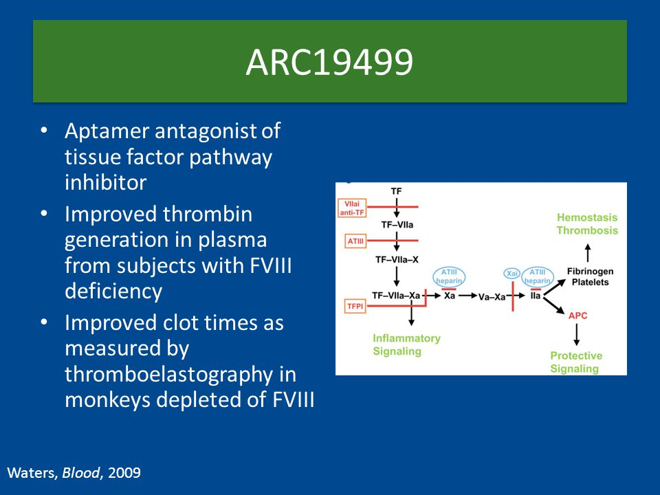 ARC19499 Aptamer antagonist of tissue factor pathway inhibitor Improved thrombin generation in plasma from subjects with FVIII deficiency Improved clo