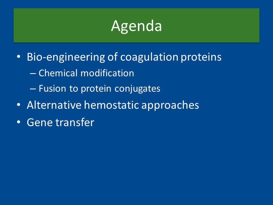 Agenda Bio-engineering of coagulation proteins – Chemical modification – Fusion to protein conjugates Alternative hemostatic approaches Gene transfer