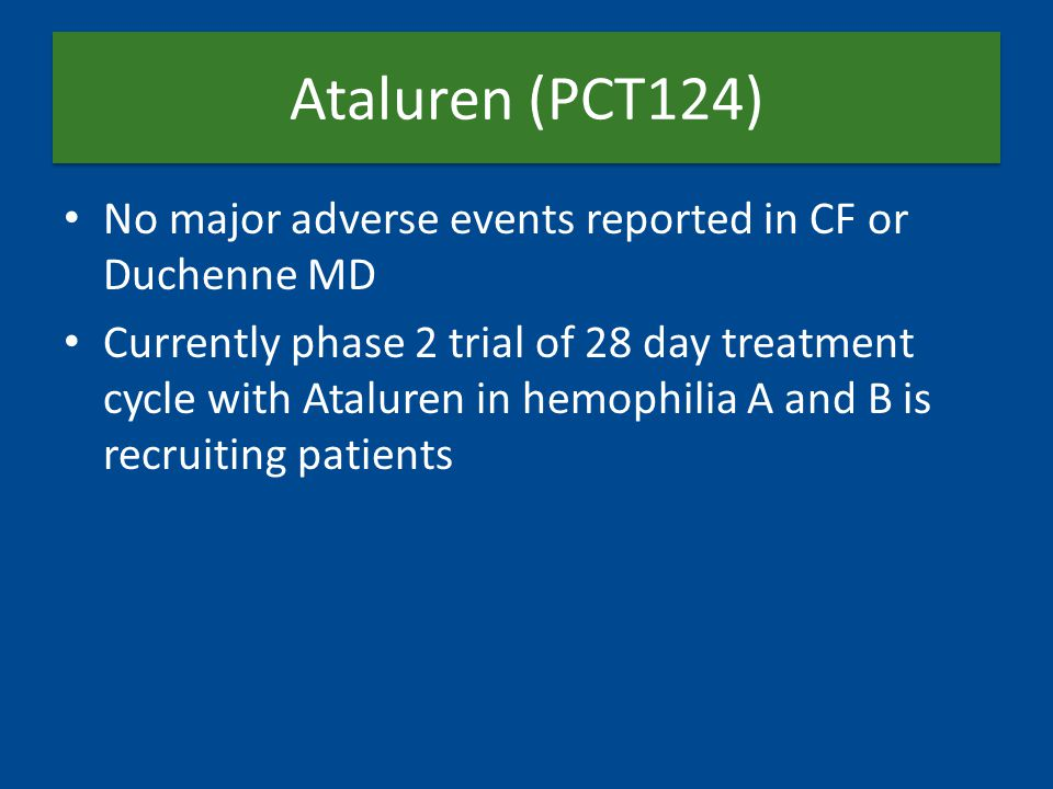 Ataluren (PCT124) No major adverse events reported in CF or Duchenne MD Currently phase 2 trial of 28 day treatment cycle with Ataluren in hemophilia A and B is recruiting patients
