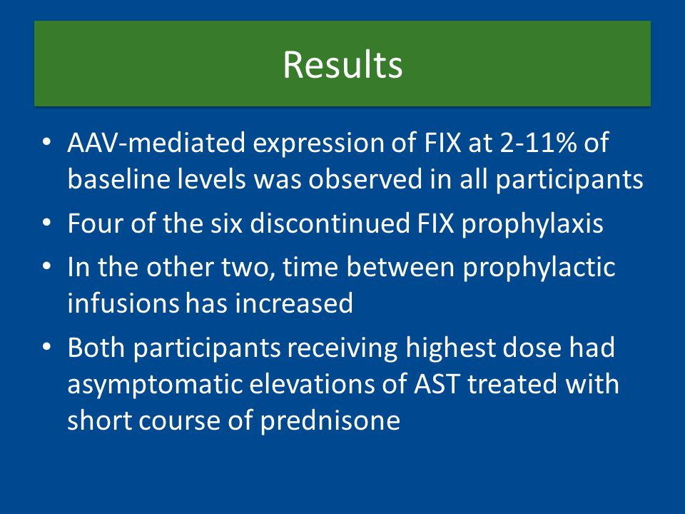 Results AAV-mediated expression of FIX at 2-11% of baseline levels was observed in all participants Four of the six discontinued FIX prophylaxis In the other two, time between prophylactic infusions has increased Both participants receiving highest dose had asymptomatic elevations of AST treated with short course of prednisone