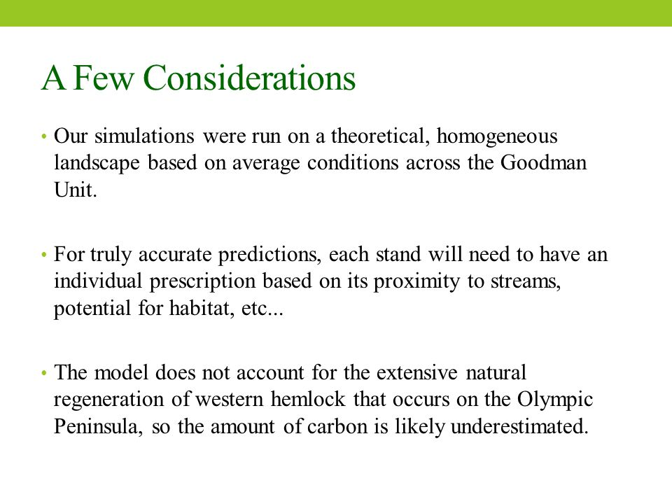 A Few Considerations Our simulations were run on a theoretical, homogeneous landscape based on average conditions across the Goodman Unit.