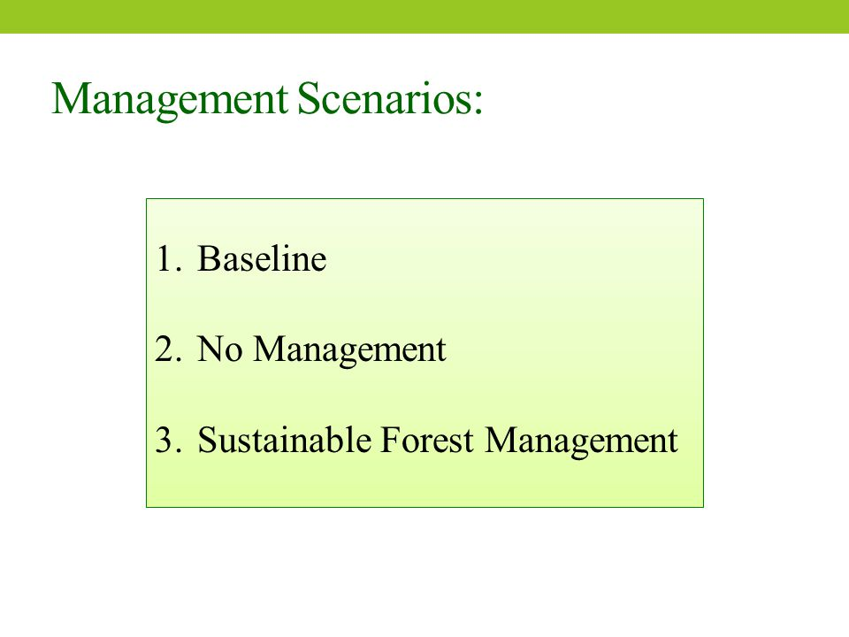 Management Scenarios: 1.Baseline 2.No Management 3.Sustainable Forest Management