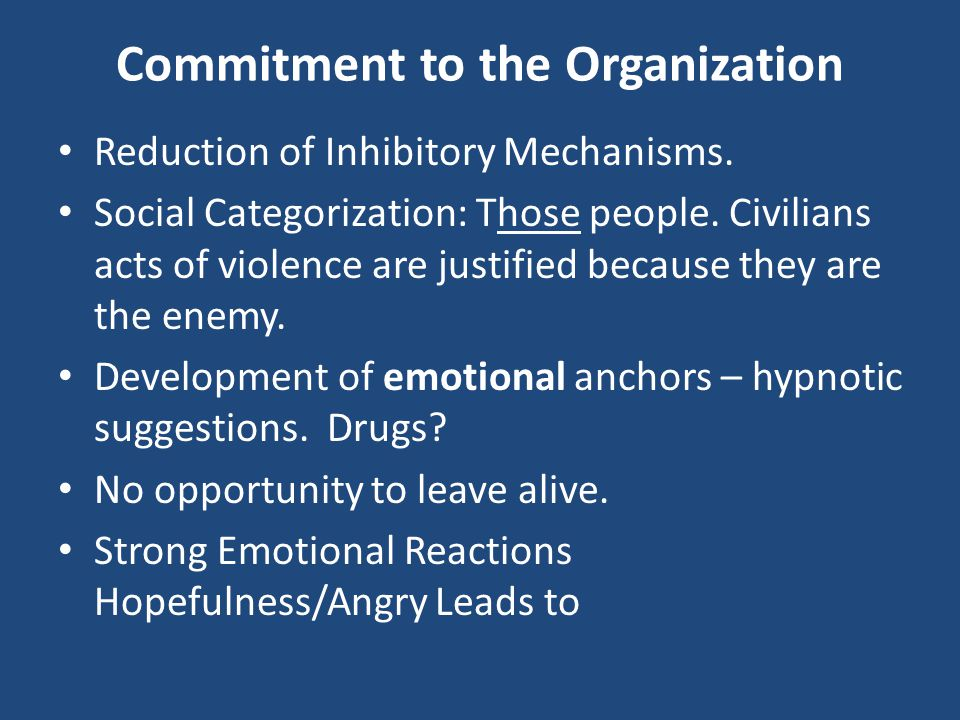 Commitment to the Organization Reduction of Inhibitory Mechanisms. Social Categorization: Those people. Civilians acts of violence are justified becau