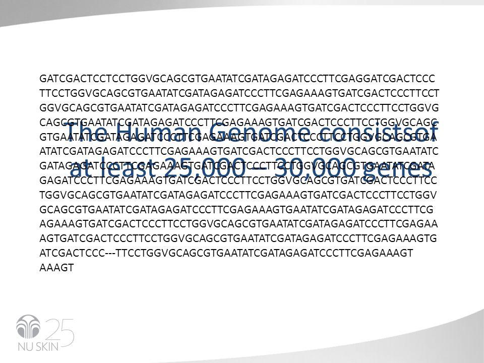 The Human Genome consistsof at least 25,000 – 30,000 genes GATCGACTCCTCCTGGVGCAGCGTGAATATCGATAGAGATCCCTTCGAGGATCGACTCCC TTCCTGGVGCAGCGTGAATATCGATAGAGATCCCTTCGAGAAAGTGATCGACTCCCTTCCT GGVGCAGCGTGAATATCGATAGAGATCCCTTCGAGAAAGTGATCGACTCCCTTCCTGGVG CAGCGTGAATATCGATAGAGATCCCTTCGAGAAAGTGATCGACTCCCTTCCTGGVGCAGC GTGAATATCGATAGAGATCCCTTCGAGAAAGTGATCGACTCCCTTCCTGGVGCAGCGTGA ATATCGATAGAGATCCCTTCGAGAAAGTGATCGACTCCCTTCCTGGVGCAGCGTGAATATC GATAGAGATCCCTTCGAGAAAGTGATCGACTCCCTTCCTGGVGCAGCGTGAATATCGATA GAGATCCCTTCGAGAAAGTGATCGACTCCCTTCCTGGVGCAGCGTGATCGACTCCCTTCC TGGVGCAGCGTGAATATCGATAGAGATCCCTTCGAGAAAGTGATCGACTCCCTTCCTGGV GCAGCGTGAATATCGATAGAGATCCCTTCGAGAAAGTGAATATCGATAGAGATCCCTTCG AGAAAGTGATCGACTCCCTTCCTGGVGCAGCGTGAATATCGATAGAGATCCCTTCGAGAA AGTGATCGACTCCCTTCCTGGVGCAGCGTGAATATCGATAGAGATCCCTTCGAGAAAGTG ATCGACTCCC---TTCCTGGVGCAGCGTGAATATCGATAGAGATCCCTTCGAGAAAGT AAAGT