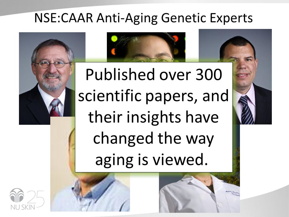 NSE:CAAR Anti-Aging Genetic Experts Published over 300 scientific papers, and their insights have changed the way aging is viewed.