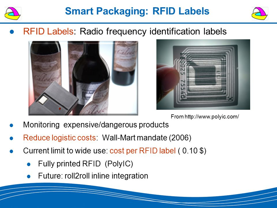 Smart Packaging: RFID Labels RFID Labels: Radio frequency identification labels Monitoring expensive/dangerous products Reduce logistic costs: Wall-Ma