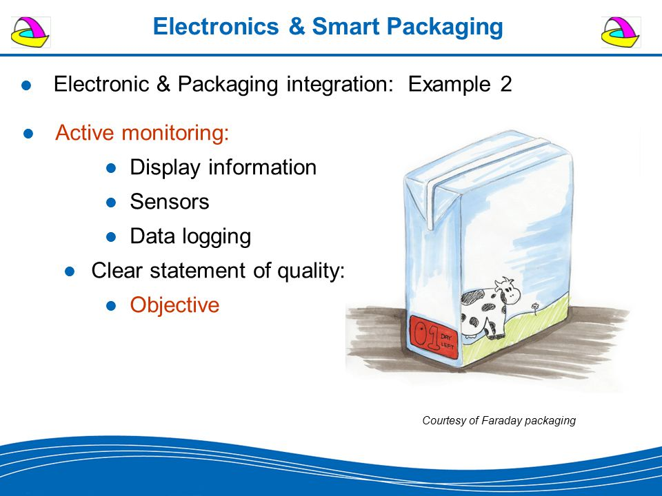 Electronics & Smart Packaging Electronic & Packaging integration: Example 2 Active monitoring: Display information Sensors Data logging Clear statement of quality: Objective Courtesy of Faraday packaging
