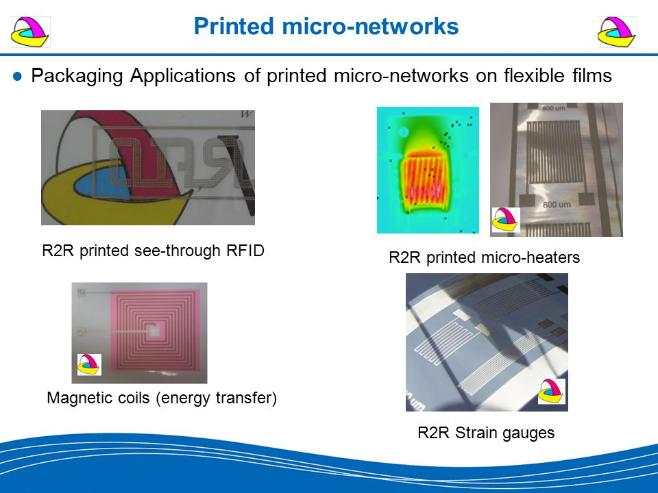 Printed micro-networks Packaging Applications of printed micro-networks on flexible films R2R printed see-through RFID R2R printed micro-heaters R2R Strain gauges Magnetic coils (energy transfer)