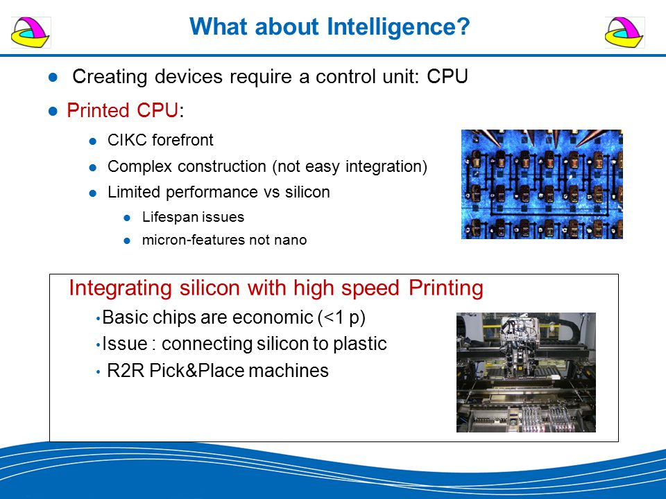 What about Intelligence? Creating devices require a control unit: CPU Printed CPU: CIKC forefront Complex construction (not easy integration) Limited