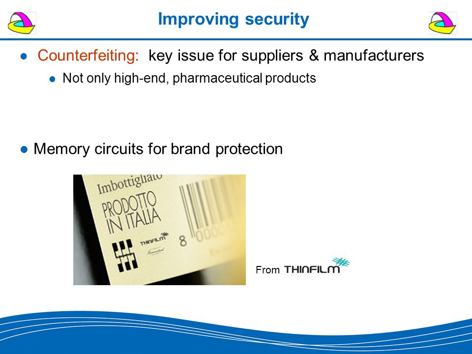 Improving security Counterfeiting: key issue for suppliers & manufacturers Not only high-end, pharmaceutical products Memory circuits for brand protec