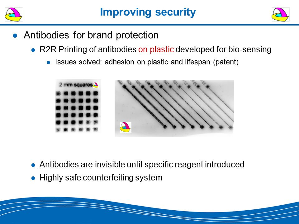 Improving security Antibodies for brand protection R2R Printing of antibodies on plastic developed for bio-sensing Issues solved: adhesion on plastic and lifespan (patent) Antibodies are invisible until specific reagent introduced Highly safe counterfeiting system