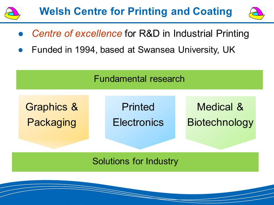 Welsh Centre for Printing and Coating Fundamental research Graphics & Packaging Printed Electronics Medical & Biotechnology Solutions for Industry Centre of excellence for R&D in Industrial Printing Funded in 1994, based at Swansea University, UK