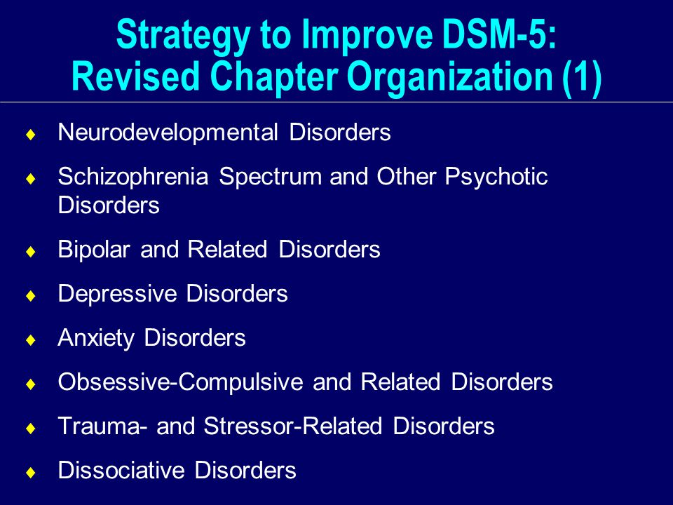 Strategy to Improve DSM-5: Revised Chapter Organization (1)  Neurodevelopmental Disorders  Schizophrenia Spectrum and Other Psychotic Disorders  Bipolar and Related Disorders  Depressive Disorders  Anxiety Disorders  Obsessive-Compulsive and Related Disorders  Trauma- and Stressor-Related Disorders  Dissociative Disorders