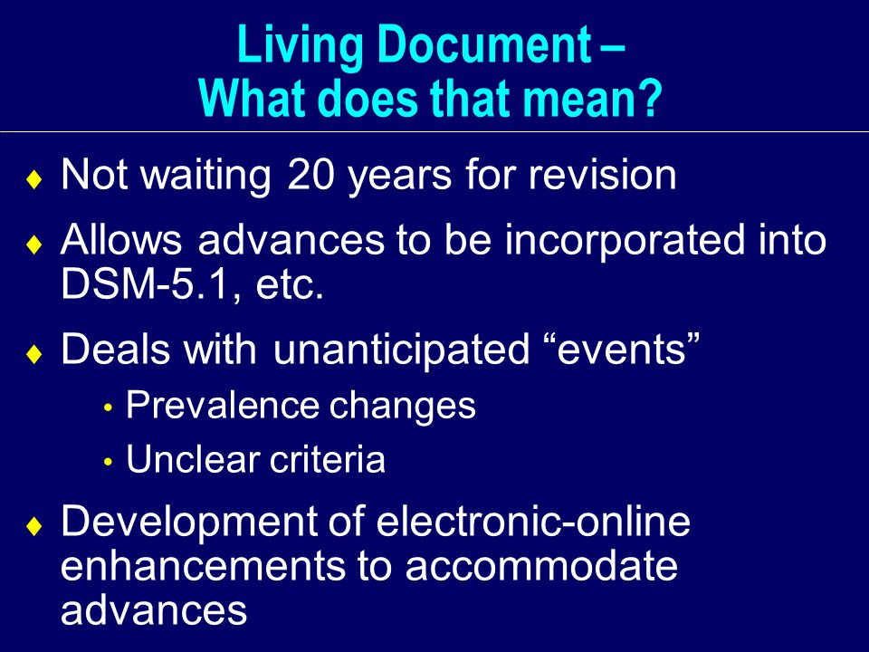 Living Document – What does that mean.