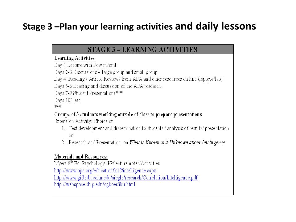 Stage 3 –Plan your learning activities and daily lessons