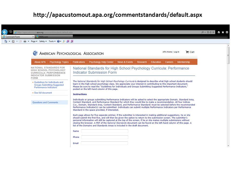 http://apacustomout.apa.org/commentstandards/default.aspx