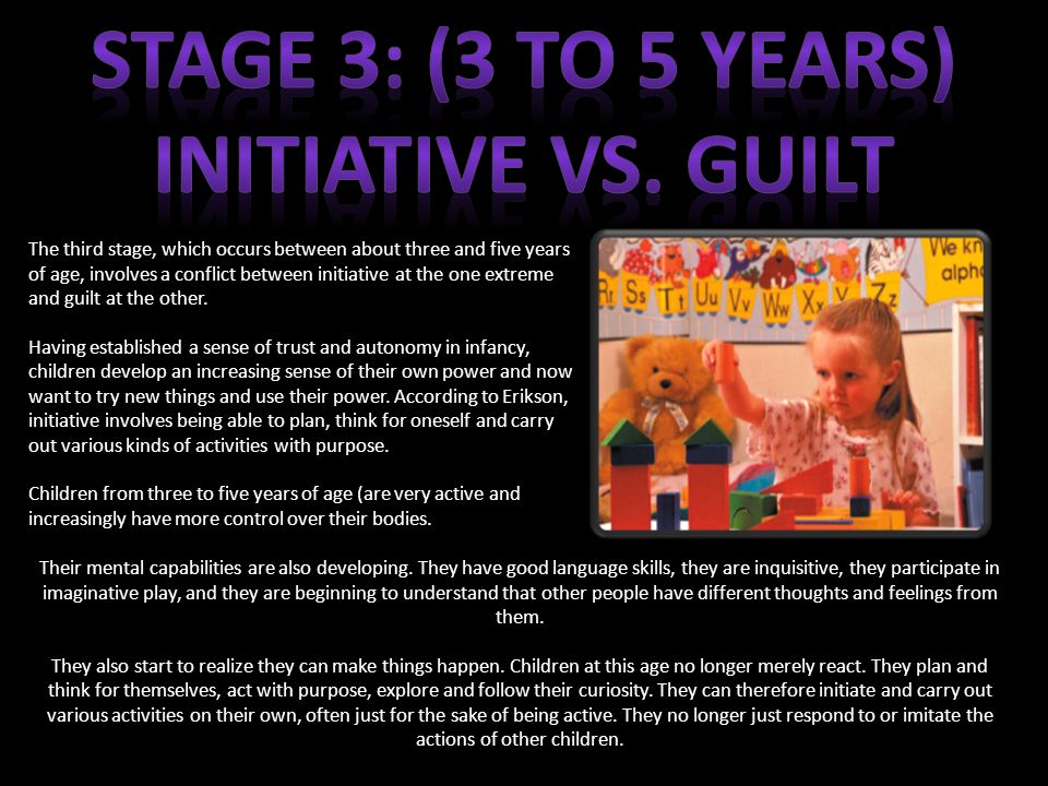 The third stage, which occurs between about three and five years of age, involves a conflict between initiative at the one extreme and guilt at the other.