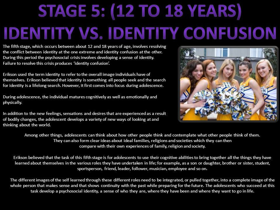 The fifth stage, which occurs between about 12 and 18 years of age, involves resolving the conflict between identity at the one extreme and identity confusion at the other.