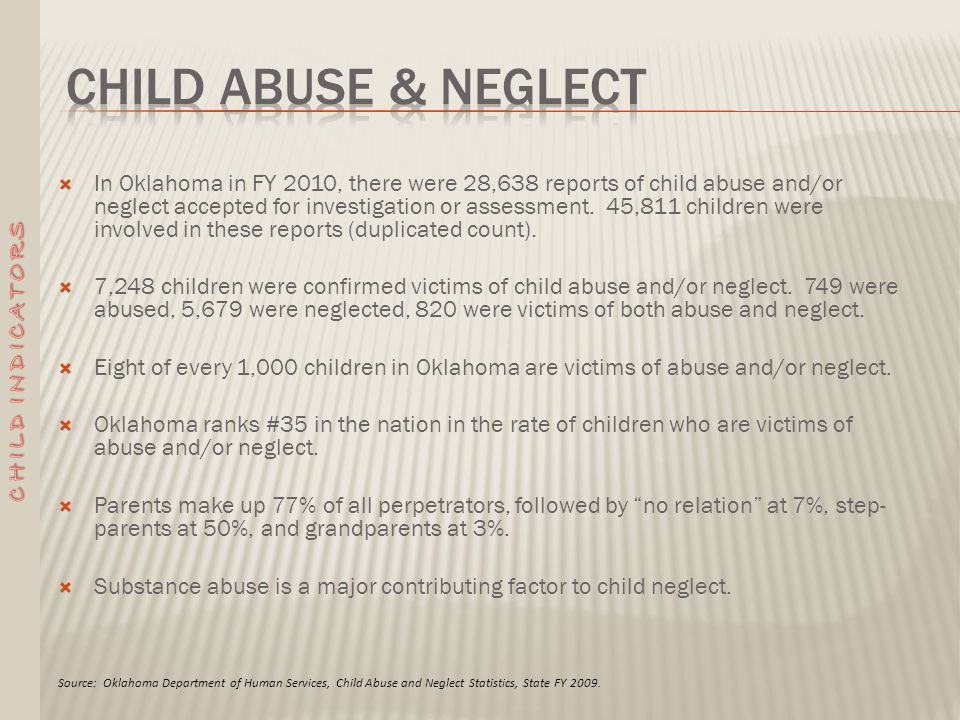  In Oklahoma in FY 2010, there were 28,638 reports of child abuse and/or neglect accepted for investigation or assessment.