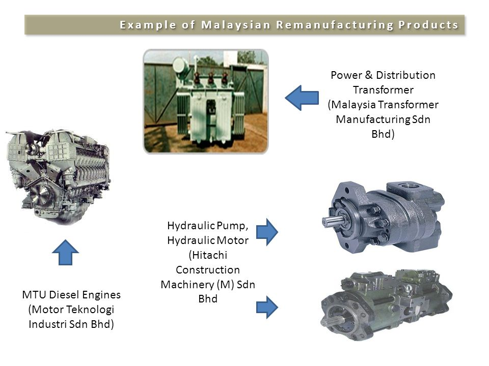 Example of Malaysian Remanufacturing Products Power & Distribution Transformer (Malaysia Transformer Manufacturing Sdn Bhd) MTU Diesel Engines (Motor