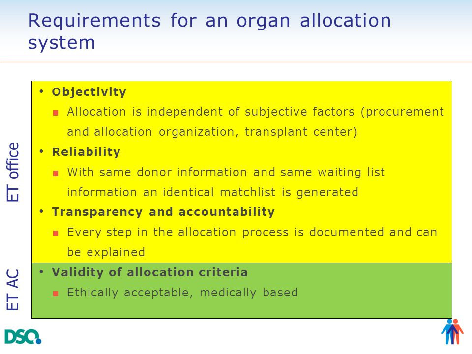 Requirements for an organ allocation system Objectivity ■ Allocation is independent of subjective factors (procurement and allocation organization, tr
