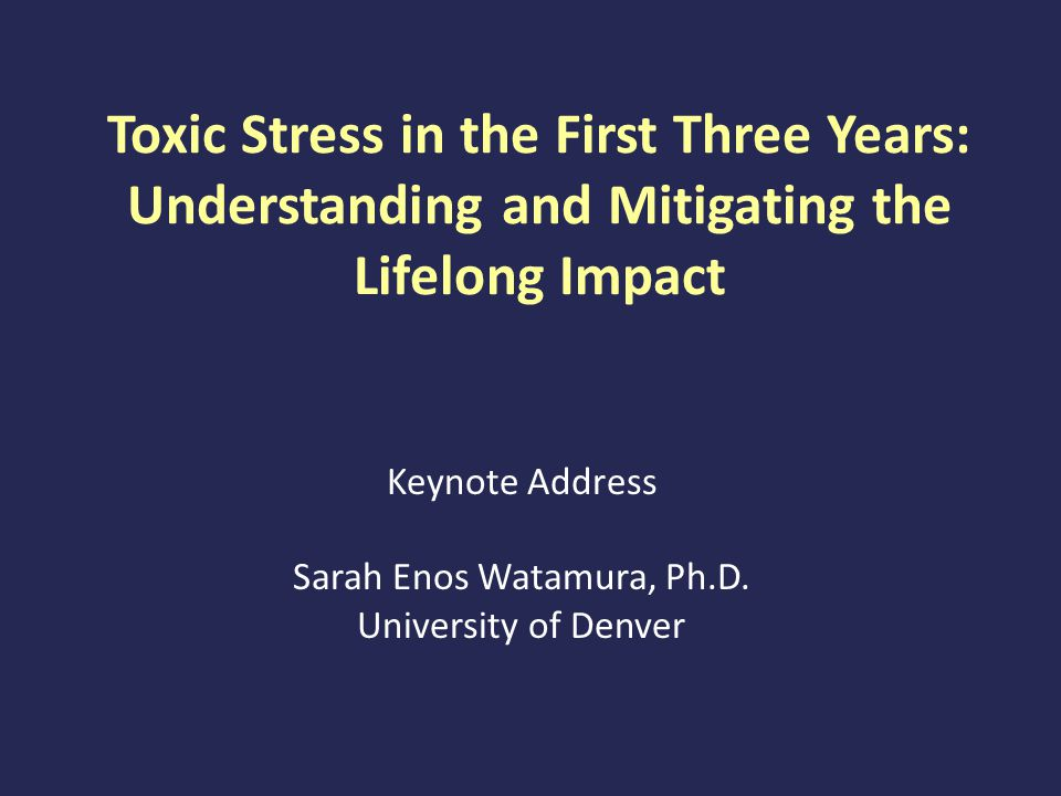 Toxic Stress in the First Three Years: Understanding and Mitigating the Lifelong Impact Keynote Address Sarah Enos Watamura, Ph.D.
