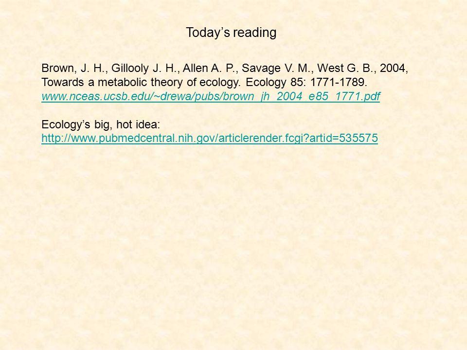 Brown, J. H., Gillooly J. H., Allen A. P., Savage V.