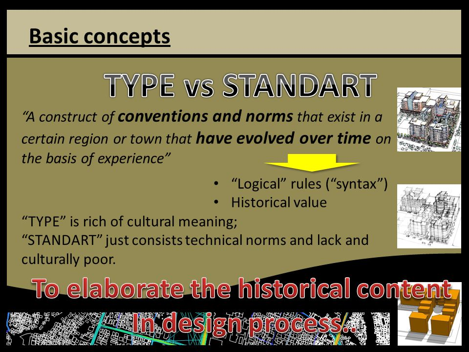 Basic concepts A construct of conventions and norms that exist in a certain region or town that have evolved over time on the basis of experience Logical rules ( syntax ) Historical value TYPE is rich of cultural meaning; STANDART just consists technical norms and lack and culturally poor.