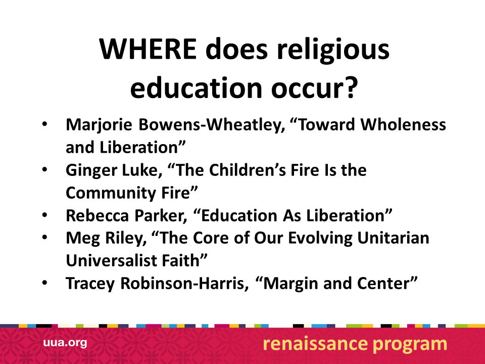 WHERE does religious education occur.