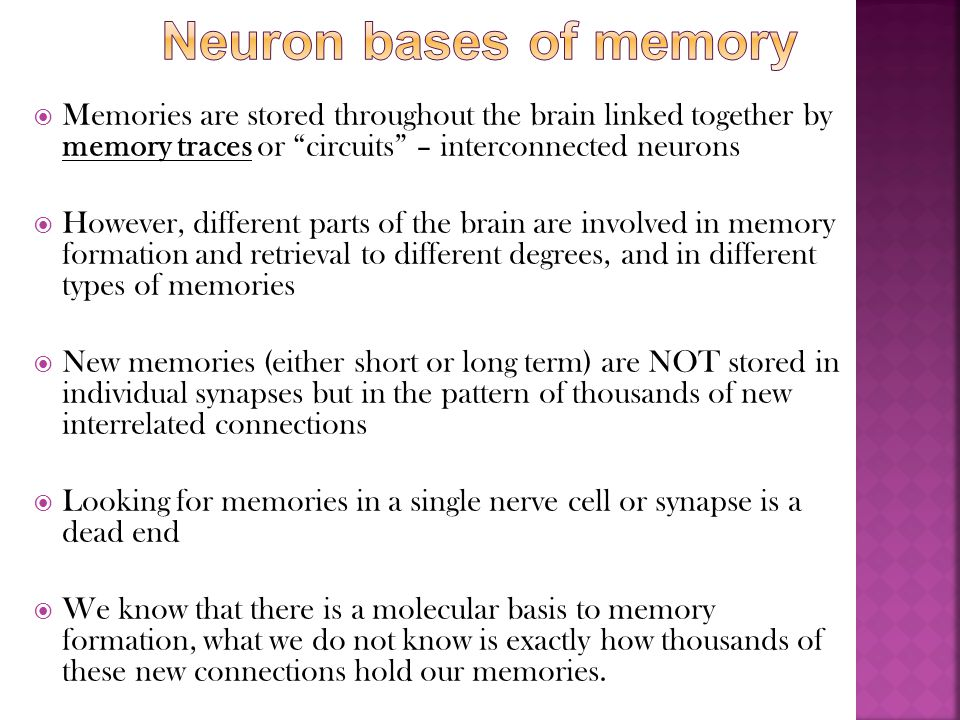 " Memories are stored throughout the brain linked together by memory traces or ""circuits"" – interconnected neurons  However, different parts of the b"