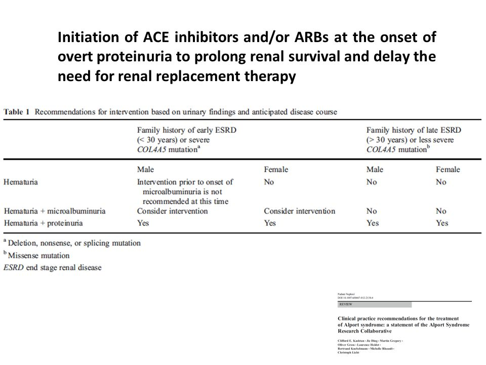 Initiation of ACE inhibitors and/or ARBs at the onset of overt proteinuria to prolong renal survival and delay the need for renal replacement therapy