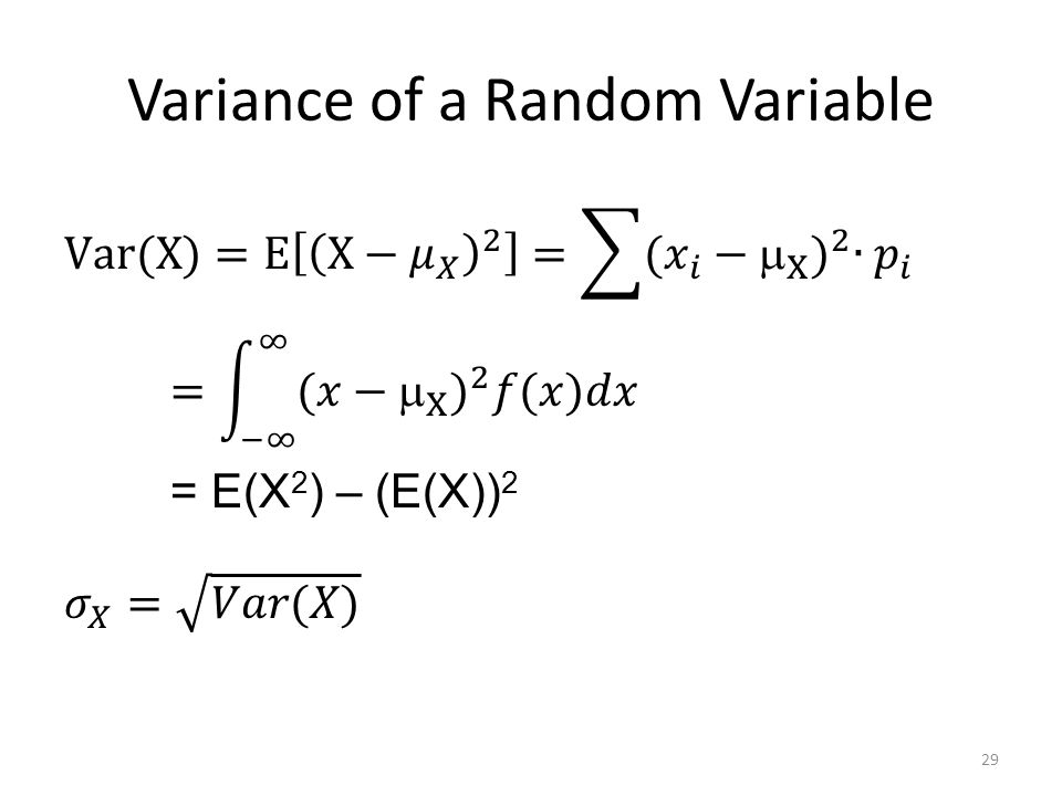 Variance of a Random Variable 29