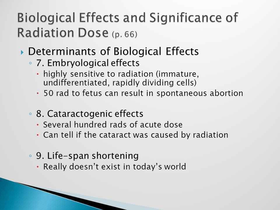  Determinants of Biological Effects ◦ 7.