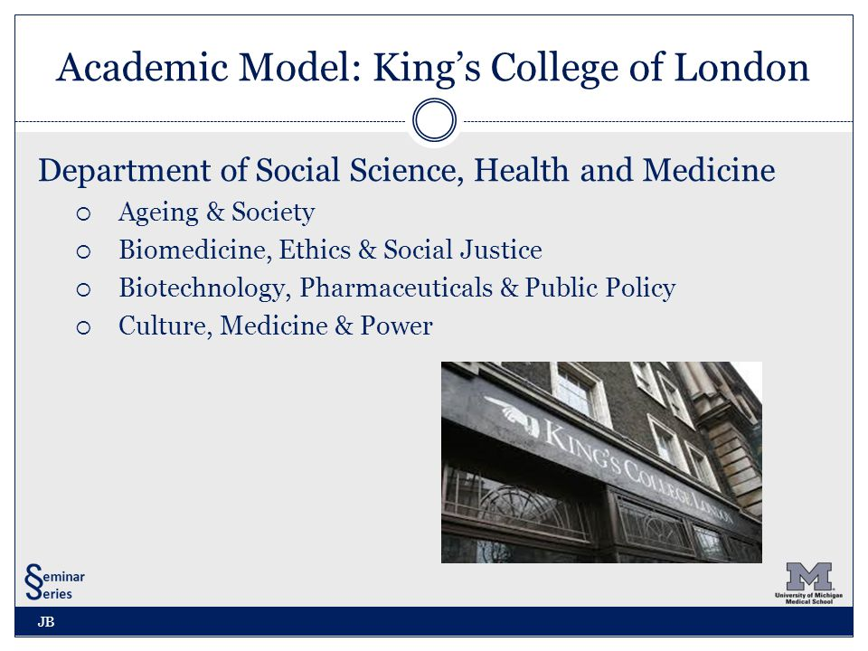 Academic Model: King's College of London Department of Social Science, Health and Medicine  Ageing & Society  Biomedicine, Ethics & Social Justice  Biotechnology, Pharmaceuticals & Public Policy  Culture, Medicine & Power JB